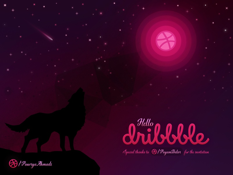 Hello Dribbble! dribbblers first design debut illustration pink stars star moon wolf howling wolf night sky night hello dribbble hello dribbble ball dribbble