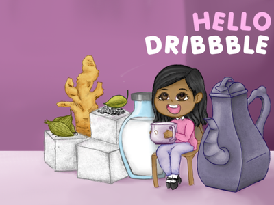 Hello dribbble! anime cartoon comic tea illustration design