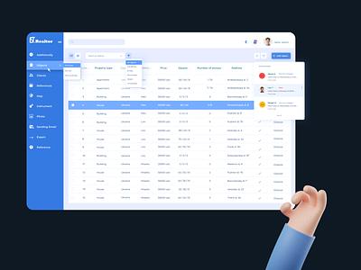 Custom dashboard for real estate management custom saas design dark ui design dashboard crm ui ux