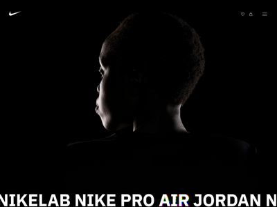 Nike Vision website. Dark theme/Concept concept online store black theme nike web design figma ui ux design