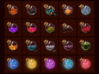 Magic Bottles icons vector craft withchcraft mana liquid potion fantasy magic bottle alchemy game graphics