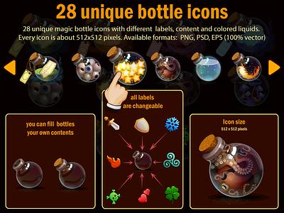 28 Unique Bottle Icons vial elixir vector potion game design game development assets magic liquids game bottles alchemy