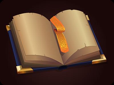 Book icon game design vector illustration paper icon workbook magic book