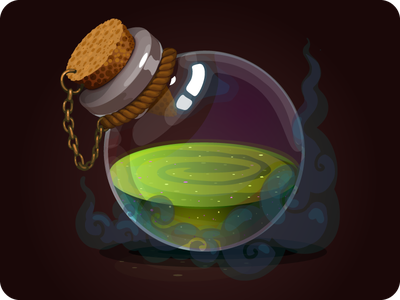 vial with potion game icon magic glass vessel bottle potion vial