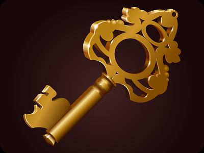 Key ancient golden key old achievement arcade gold entertainment quest icon vector game