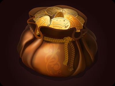 Purse icon game coins gold illustration bag vector element game treasure icon purse