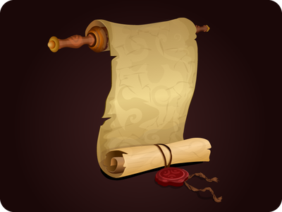 Scroll magic icon vector decree interface achievement document torn ancient app quest game
