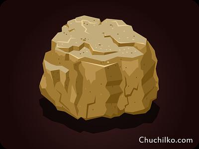 Stone icon game cartoon illustration art app user stone quest icon interface design mining game
