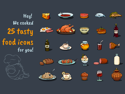 Cartoon Food Icons Game Set food fastfood drink dish dinner cooking cookery cookbook cafe business lunch breakfast assets