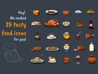 Cartoon Food Icons Game Set