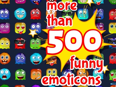 Cartoon Funny Stickers sticker smile set message face emotion crazy cool chatacter chat cartoon assets