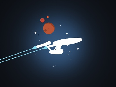 Iconic spaceships trek star space uss-enterprise minimalist illustration