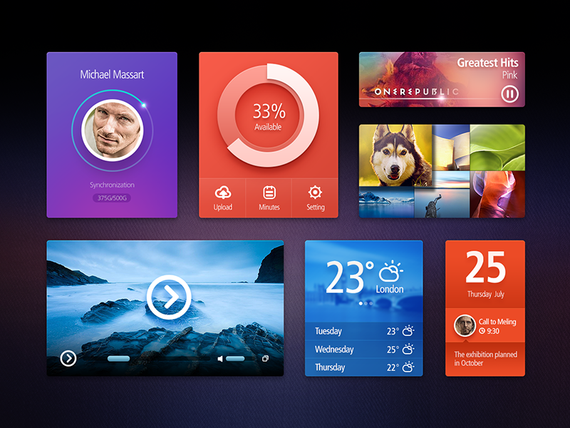 Ui Kit (Free PSD) ui kit psd app ui photo music weather calendar photo music weather calendar