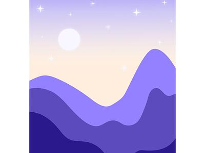 Twilight Mountains mountains digital art landscape night twilight dusk moon stars illustration vector illustrator graphic design adobe illustrator