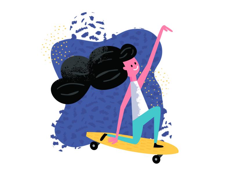 Skateboarder longboard skateboards skateboard skater skateboarding colorful texture flat illustration