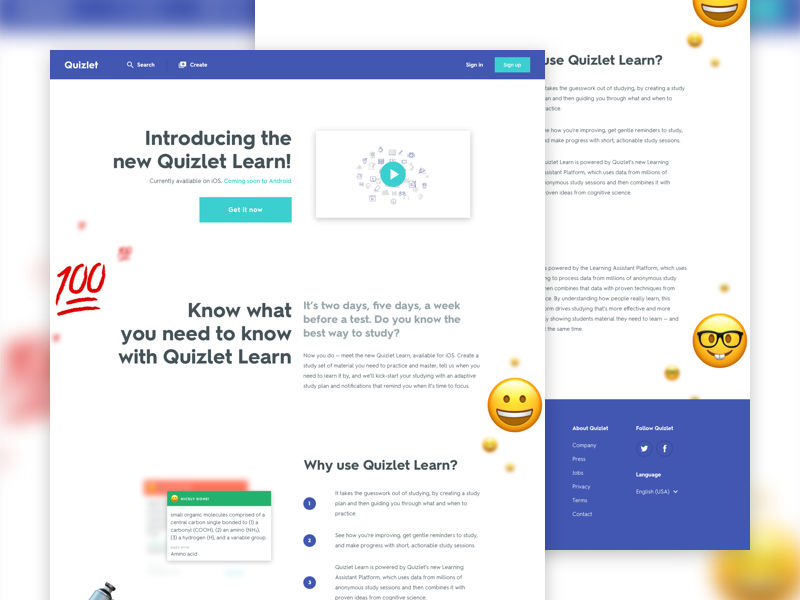 Learn Landing Page sketch emoji digital app ui iphone ios landing page landing website web