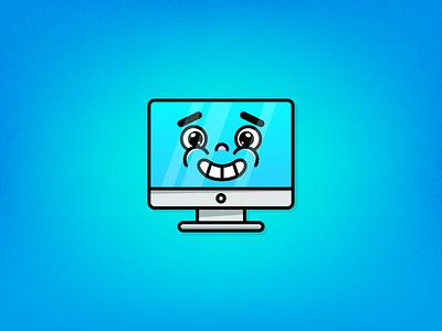 Happy PC blue mac art logo design illustration illustrator adobe illustrator vector icon personal computer pc