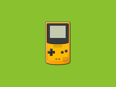 Gameboy Color (yellow) green yellow pokemon gameboy color illustrator portable classic games nintendo game vector graphic design icon gameboy