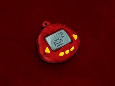Tamagotchi draw icon design vector photoshop illustrator illustration digital art graphic design eletronic red vector art 90s toy tamagotchi