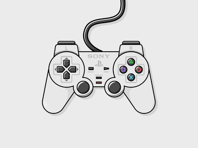 PSone Joystick joystick retro game psone sony play station retro games digital art illustrator graphic design illustration design icon vector
