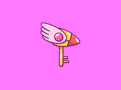 Magic Key and Clow Wand / Cardcaptor Sakura vector illustration adobeillustrator adobe key clow wand anime magic pink sakura cardcaptor sakura magic key wand digital art illustrator design graphic design illustration icon vector