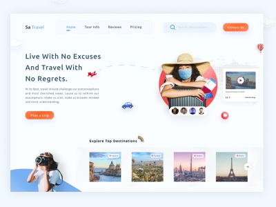 Travel Agency Landing Page websitedesign typography userinterfacedesign vacationmode trip planner homepage website webdesign traveling travel guide vacation rentals tourist tourism travel app travel agent travel agency landing page landing page travel agency graphic design ui