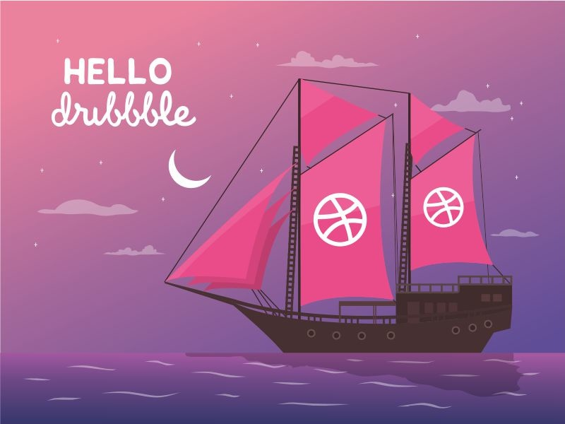 Hello Dribbble! night sea ocean pinisi ship hello dribbble