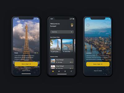 Europe Traveling App mobile apps minimal interface design interface uiux ux ui mobile design mobile app ux design ui design