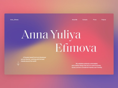 Anna Yuliya Efimova folio ui ux branding web gradient creative folio portfolio website design ui minimal interface design interface