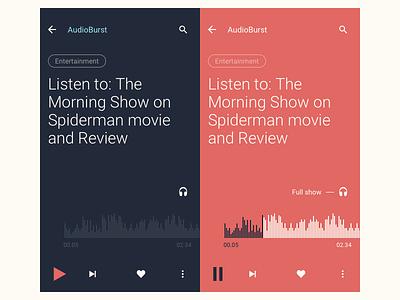 Audioburst Mobile Audio Player mobile radio interface material design ios service app ios interaction design audio music player player ux ui