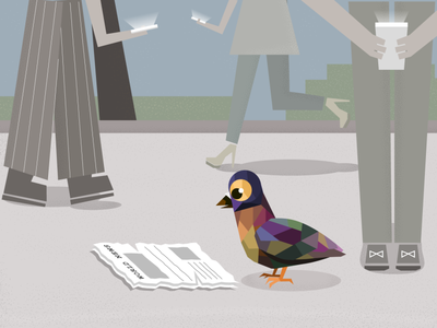 News got your tongue, pigeon? enlightment newspaper scary world polygon people street news pigeon