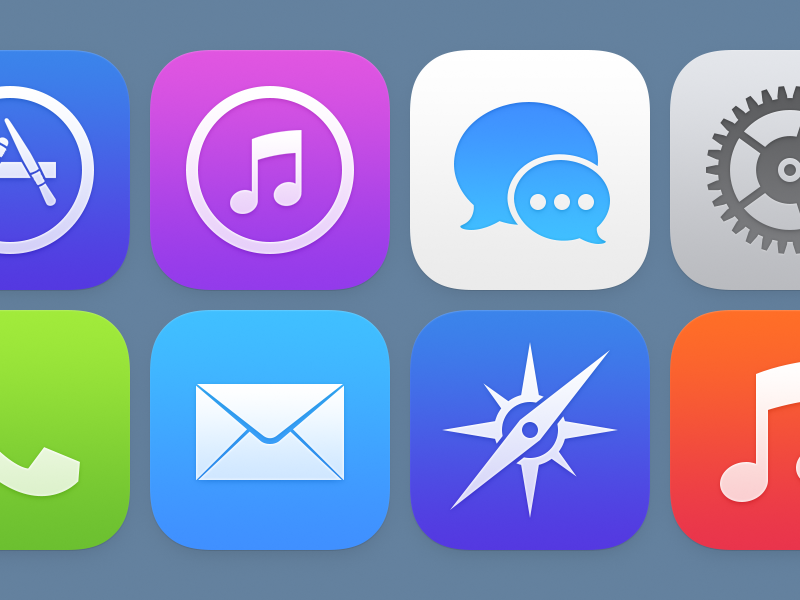 iOS Icons (Version 2) app icons ios itunes mail music imessage messages phone preferences safari
