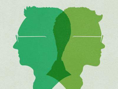 Nick Paulson & Taylor Carrigan portrait silhouette cameo venn