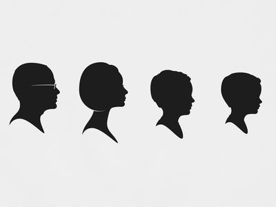 The Layton Family silhouette portrait cameo family profile