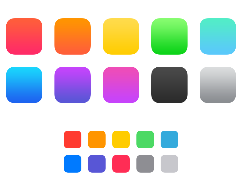 iOS 7 Color Swatches ios7 ios color scheme icon icons colors system