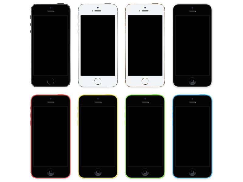 iPhone 5s + iPhone 5c [PSD] iphone 5s 5c ios apple