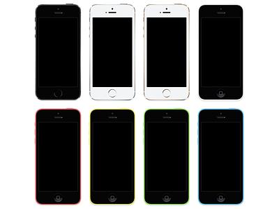 iPhone 5s + iPhone 5c [PSD] iphone 5s 5c ios apple