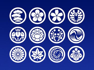 Mōn kamon mon icons symbols plants flowers japanese japan hanafuda flower cards cards