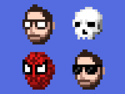 Faces of Louie selfie portrait avatar louie pixel spider-man spiderman 16