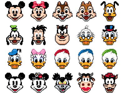 Mickey & Friends mickey minnie donald daisy chip dale goofy pluto pixel 32 icon disney