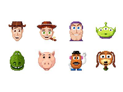 Toy Story icon disney pixar pixel 32 woody jessie buzz lightyear toy story
