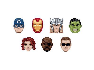 The Avengers iron manblack widownick fury hawkeye 32 icon pixel captain america thor hulk