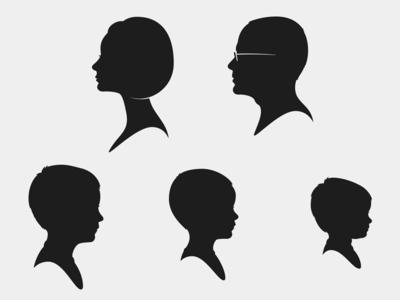 The Layton Family profile family cameo silhouette portrait