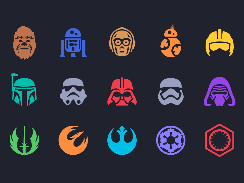 Star Wars Icons bb8 chewbacca c3po r2d2 darth vader kylo ren boba fett stormtrooper star wars magic passport icons