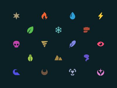 Pokémon Type Icons icons pokémon pokédex willow oak app