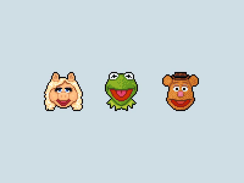 The Muppets muppets miss piggy kermit fozzie bear frog pixel