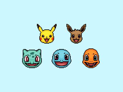 Pokémon! pixel pokémon eevee pikachu charmander squirtle bulbasaur