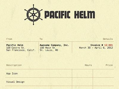 Pacific Helm Invoice invoice copy carbon paper