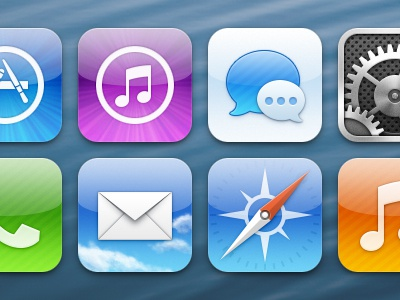 iOS icons icons app store itunes music imessage messages system preferences phone mail safari ios