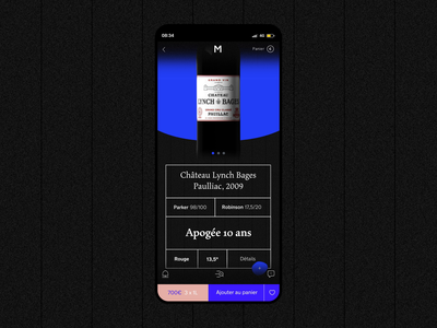Millesima wine art direction website product page mobile ui